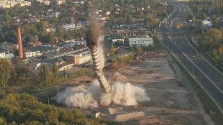 Fly Star - Wyburzenie komina w Łodzi - pełna wersja